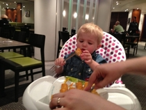 My nephew hasnt quite got the hang of forks yet
