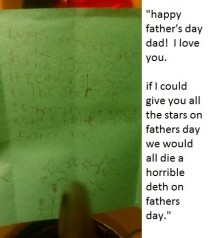 My nephew shows his understanding of the nature of stars in his homemade fathers day card to his Dad