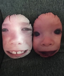 My nephews faces on pillows for a Mother Day gift was a great idea in theory