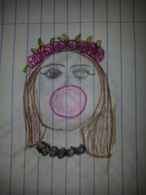 My niece drew me a picture of a girl blowing a bubble I dont think Im cut out for this MATURE ADULT thing