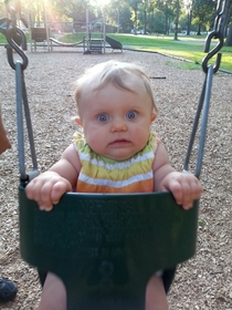 My nieces first time swinging at the park