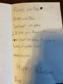 My nieces non-traditional valentine card