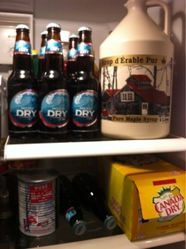 My parents fridge has a way of reminding how Canadian I am yes thats  Litres