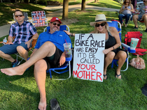 My parents went to watch a bike race here in Utah The sign was my moms idea