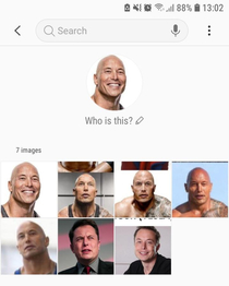 My phones face recognition software from the gallerie believes that Elon Musk and the Rock are one and the same