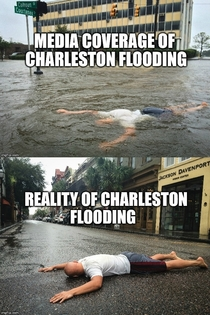 My roommates mom was worried about the flooding down here in Charleston This is what he sent her