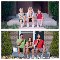 My siblings and I recreated this photo from our youth Circa