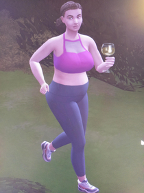 My sim who just took her glass of wine with her on a jog What a mood