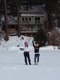 My sister and her friend were excited to walk across the frozen lake Guess my dad was excited too