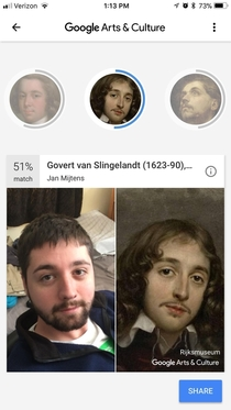 My sister downloaded this new app that takes your picture and compares it to old paintings and here what came up