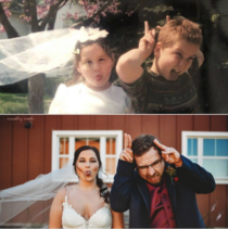My sister got married over the weekend so we recreated this gem from our childhood