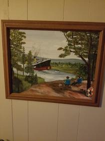 My sister likes to take Thrift store paintings and add more to them This one is one of my favorites
