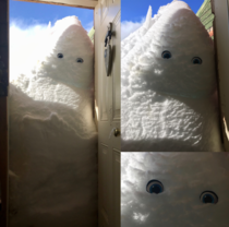 My sister put eyes on the snow drift on her porch in Montana