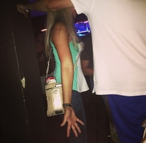 My sister took this at a bar last night Thats a can of SpaghettiOs in her purse