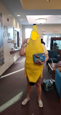 My SO is going through chemo and each time she is going as a different theme This week it is bananas Shes handing out frozen chocolate covered bananas to other patients and telling them that This whole thing is bananas