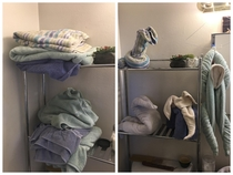 My so was displeased with my towel folding job I think I redeemed myself