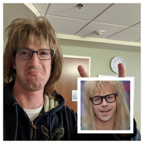 My SO was donated some wigs I tried one on for fun and she told me I look like Garth Party On