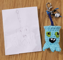 My son designed a keyring He seems happy with the reality