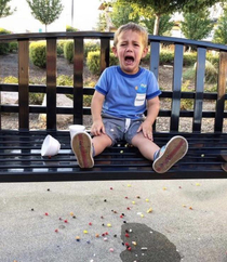 My son dropped his jelly beans and there has never been a sadder photo ever taken
