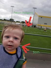 My son got his picture taken with Aaron Rodgers today