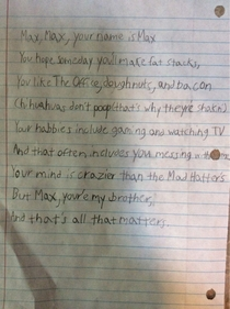 My son Jack wrote a poem to his brother Max