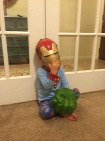 My son just told me he was tired I guess being three different superheroes can take a toll on a toddler
