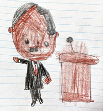 My son was supposed to draw Dr Martin Luther King Jr but with the mustache the side part hair and outstretched arm hes looking like someone else