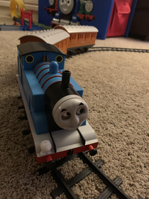 My sons Thomas the Tank Engine toy looks like it killed another tank engine and is wearing its face