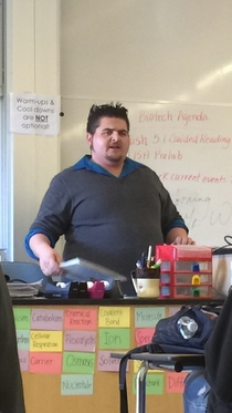 My substitute teacher looks like a cross of Wolverine and The Penguin