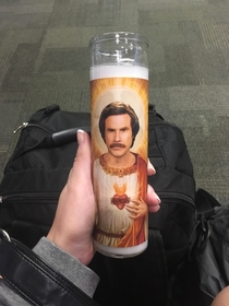 My sweet Ron Burgandy candle caused my backpack to be pulled aside and checked at the airport because it looked like a suspicious canister The TSA officer loved it and showed it off Im not even mad