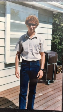 My uncle looking like Napoleon Dynamite back in the day