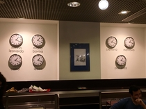 My university canteen has a wall clock for each of the universitys campuses except they are all in the same country so all the clocks show the exact same time