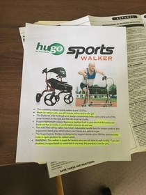 My very elderly father needs a walker but was afraid it would make him look disabled so I made a fake ad for a sports walker to make him happy