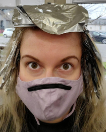 My wife is getting her hair done and she looks like Shredder