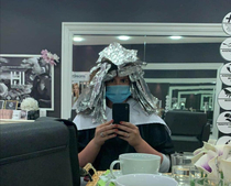 My wife is getting her hair done I told her to watch out for turtles so they dont mistake her for Shredder
