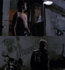 My wife pointed out the prophetic graffiti Robert Downey Jr is standing near in the film Tuff Turf
