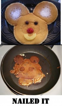 My wife tried to make mickey mouse pancakes