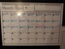 My wife was laid off due to covid- non-essential retail this is her new schedule on the fridge