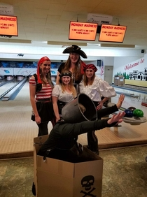 My wife went to a pirate themed charity bowling event but decided last minute she didnt want to dress like a pirate since she figured everyone else would be So she went as a cannon