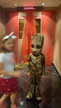 My  year old insisted on dressing up as groot to see the new guardians of the galaxy