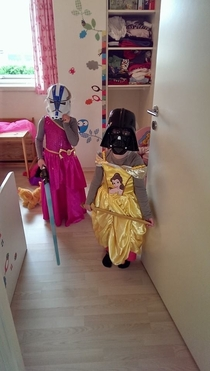 My yo and her friend playing Star Wars Princesses