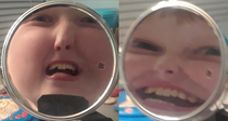 My younger cousin came over and took some pictures of himself in this mirror This was the result