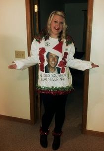 Needless to say I won the ugly Xmas sweater contest Saint Nic Cage - my masterpiece