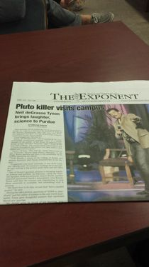 Neil deGrasse Tyson gave a talk at my university yesterday This is how the newspaper reported it today