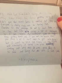 Nephew Wrote Home From Summer Camp