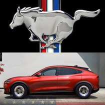New electric ford mustang and the new mustang emblem
