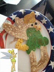 Niece requested Tinkerbell pancakes I think they turned out great