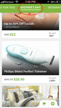 No Groupon I will not be purchasing this for my mother