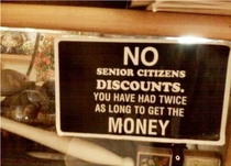 No senior citizens discount