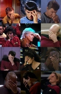 Nobody does the Facepalm better than we did on Star Trek - Courtesy of George Takeis Twitter feed